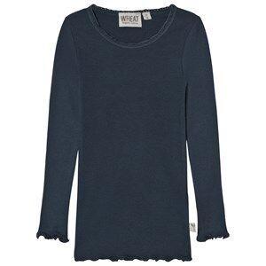 Wheat Girls Tops Navy Rib T-Shirt Lace Midnight Navy