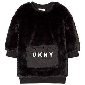 DKNY Girls Dresses Black Black Faux Fur Dress with Branded Pocket