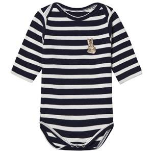 Image of Maison Labiche Girls All in ones Navy Bunny Embroidered Baby Body Navy