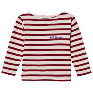 Maison Labiche Girls Tops Red Just Be You Embroidered Long Sleeve Tee Red White