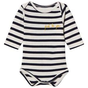 Image of Maison Labiche Girls All in ones Navy Just Be You Embroidered Long Sleeve Baby Body
