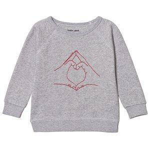 Maison Labiche Girls Jumpers and knitwear Grey Love Sign Sweatshirt Grey