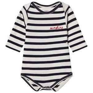 Maison Labiche Girls All in ones Navy Sunshine Embroidered Baby Body Navy Stripe