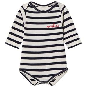 Image of Maison Labiche Girls All in ones Navy Sunshine Embroidered Baby Body Navy Stripe