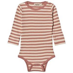 MarMar Copenhagen Unisex All in ones Pink Plain Baby Body Antique Rose Stripe