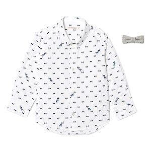 Billybandit Boys 1 Tops White Dinosaur Print Bow Tie Shirt