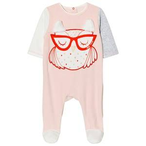 Image of Little Marc Jacobs Girls All in ones Pink Footed Baby Body Owl Applique Pink Velour