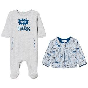 Image of Little Marc Jacobs Boys All in ones Blue Footed Baby Body Pale Blue Jersey and Reversible Jacket Gift Box