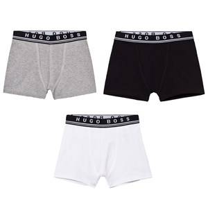 Boss Boys Underwear Black 3 Pack of Black/White/Grey Branded Boxers