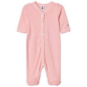 Image of Petit Bateau Girls All in ones Pink Pink Stripe Footed Baby Body