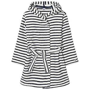Petit Bateau Unisex Swimwear and coverups White Marine Striped Bathrobe