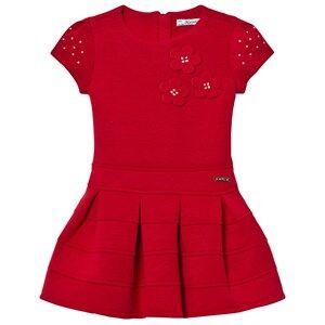 Mayoral Girls Dresses Red Red Flower Applique Milano Dress