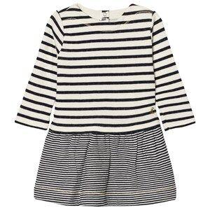 Petit Bateau Girls Dresses White Marine Stripe Dress