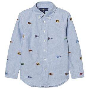 Ralph Lauren Boys Tops Blue Blue Embroidered Flag Shirt
