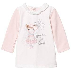 Image of Mayoral Girls Dresses Pink Off White and Pink Girl Print Dress