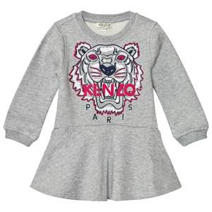 Image of Kenzo Girls Dresses Grey Grey Embroidered Tiger Sweat Dress
