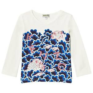 Kenzo Girls Tops White White Cloud Multi Tiger Print Long Sleeve Tee