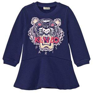 Kenzo Girls Dresses Purple Purple Embroidered Tiger Sweat Dress