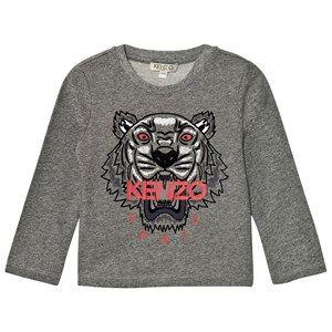 Kenzo Boys Tops Grey Dark Grey Marl Embroidered Tiger Print Tee