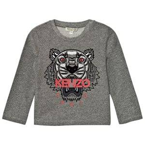Kenzo Boys Tops Grey Dark Grey Marl Embroidered Tiger Print Tee