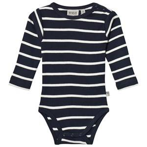 Image of Wheat Girls All in ones Navy Baby Body Plain Long Sleeve Navy