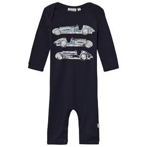 Image of Wheat Girls All in ones Navy Baby One-Piece Print Navy
