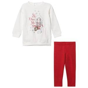Mayoral Girls Clothing sets Cream Off-white and Red Ski Girl Sweat Dress and Leggings Set