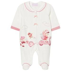 Image of Mayoral Girls All in ones Cream Cream Little Bear Velour Footed Baby Body