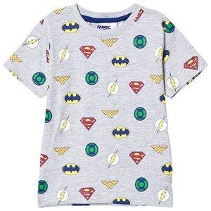 Fabric Flavours Boys Tops Grey Grey Justice League Multi Logo Tee
