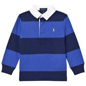 Ralph Lauren Boys Tops Navy Striped Long Sleeve Rugby Shirt Barclay Blue Multi