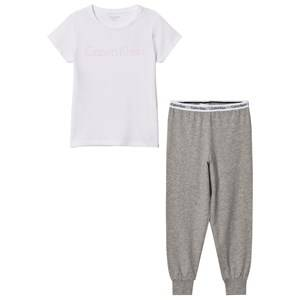 Calvin Klein Girls Nightwear Grey White Branded Tee Sweat Pants Set