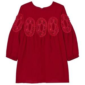 Image of Chloé Girls Dresses Red Red Lace Panel Crepe Long Sleeve Dress