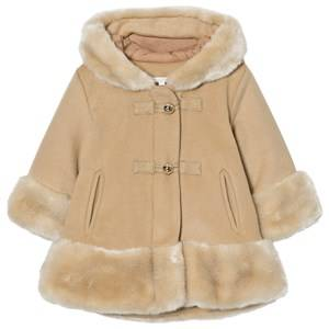 Chloé Girls Coats and jackets Beige Camel Wool Faux Fur Hooded Coat