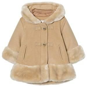 Image of Chloé Girls Coats and jackets Beige Camel Wool Faux Fur Hooded Coat