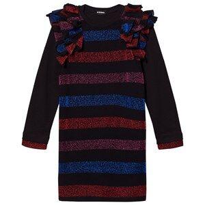 Image of Diesel Girls Dresses Black Black/Multi Colour Stripe Long Sleeve Dress