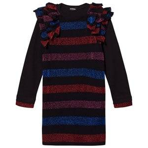 Image of Diesel Girls Dresses Black Black/Multi Colour Stripe Long Sleeve Dress