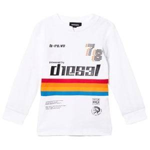 Diesel Boys Jumpers and knitwear White White Rainbow Stripe Long Sleeve Tee