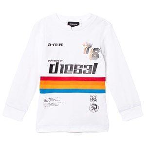 Diesel Boys Jumpers and knitwear White White Rainbow Stripe Long Sleeve Tee