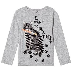 Stella McCartney Kids Girls Tops Grey Grey Tiger Print Bella Tee