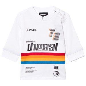 Diesel Boys Tops White White Rainbow Stripe Long Sleeve Tee