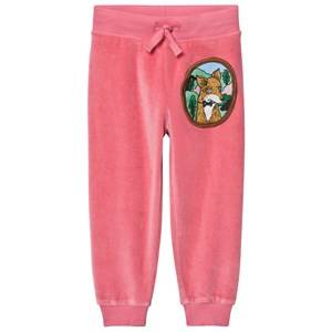 Mini Rodini Unisex Bottoms Pink Fox Velour Sweatpants Pink
