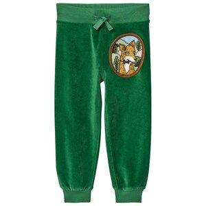 Mini Rodini Unisex Bottoms Green Fox Velour Sweatpants Green