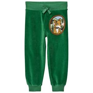 Mini Rodini Unisex Bottoms Green Fox Velour Sweatpants Green