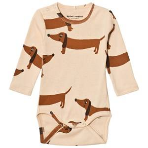 Mini Rodini Unisex All in ones Beige Dog Baby Body Beige