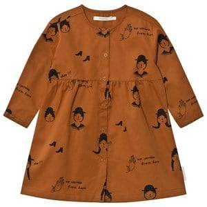 Tinycottons Girls Dresses Brown No-Worry Dolls Woven Dress Brown/Black