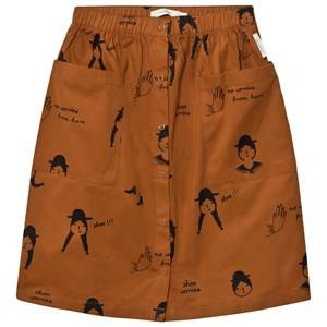 Image of Tinycottons Girls Skirts Brown No-Worry Dolls Button-Down Woven Skirt Brown/Black