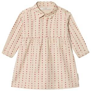 Image of Tinycottons Girls Dresses Beige Alphabet Soup Woven Dress Beige/Red