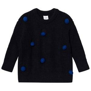 Image of Tinycottons Unisex Jumpers and knitwear Blue Pom Poms Sweater Oversized Dark Navy/Blue