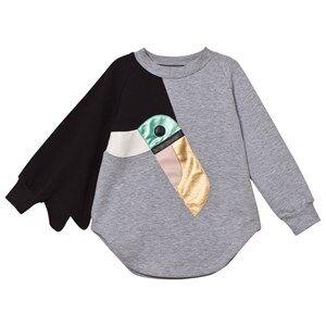 BANG BANG Copenhagen Girls Dresses Grey Grey Marl Toucan Love Bird Sweat Dress