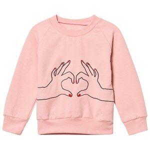 BANG BANG Copenhagen Girls Jumpers and knitwear Pink Pink Love Heart Embroidered Sweatshirt